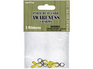 Parachute Cord Charms 3/Pkg-Yellow Ribbon