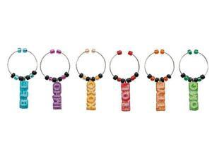 Cute Text Me Cell Phone Vino Wine Glass Charms Tags Set of 6