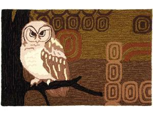 Retro Look Wise Hoot Owl Woodlands Mat Area Accent Rug