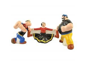 Olive Oyl Between Popeye and Brutus Salt and Pepper Shakers