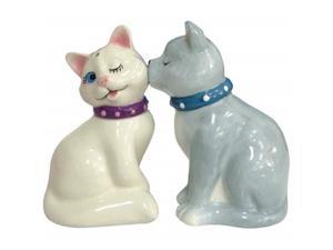 Westland Giftware Mwah Magnetic White and Gray Cats Salt and Pepper Shaker Set, 3-1/2-Inch