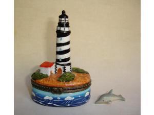 Coastal Lighthouse Porcelain Hinged Trinket  Box phb