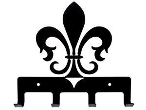 Vintage Look Laser Cut Metal Black Fleur de Lis Quad Wall Hook