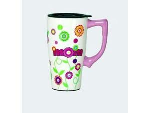 Colorful Mom and Flowers Coffee Travel Mug Ceramic with Plastic Lid