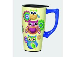 Unique Owl Lovers Coffee Travel Mug with Plastic Lid