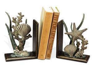 Natures Coastal Beauties Shell Starfish Coral and Seagrass Bookends