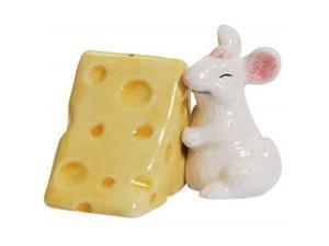 White Mouse Hugging Block of Swiss Cheese Salt and Pepper Shakers Set