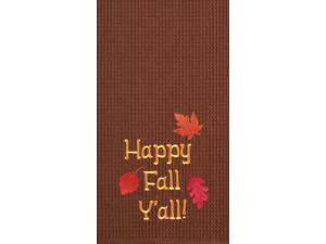 Autumn Leaves Happy Fall Y'all Brown Kitchen Towel Waffle Weave 27 Inch
