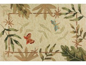 Butterflies Dragonfly Botanical Leaves Hooked Indoor Outdoor Mat Area Accent Rug