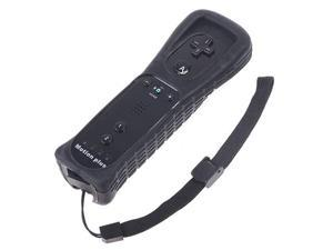 Remote Controller Built-in Motionplus Silicone Case Wristlet for Wii Black
