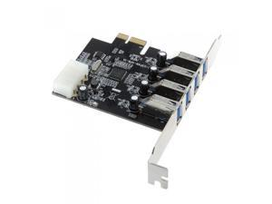 4-Port SuperSpeed USB 3.0 PCI Express Controller Card Adapter 4-pin IDE Power Connector Low Profile