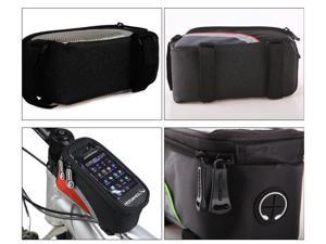"Roswheel Bike Bicycle Frame Front Tube Bag Transparent PVC with Audio Extension Line for 5.5"" Cellphone"