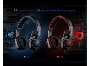 SADES SA901 7.1 Surround Sound USB Gaming Game Headphone Headset Mic Remote for PC Laptop(Two color)