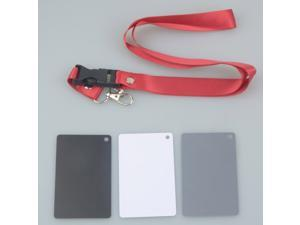 3 in 1 Pocket-Size Digital White Black Grey Balance Cards 18% Gray Card with Neck Strap