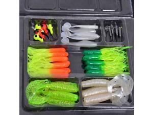35Pcs Soft Plastic Worm Fishing Baits 10 Lead Jig Head Hooks Simulation Suite Set Lures Tackle