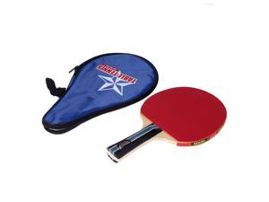 Long Handle Shake-hand Table Tennis Racket Ping Pong Paddle + Waterproof Bag Pouch Blue