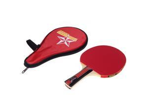 Long Handle Shake-hand Table Tennis Racket Ping Pong Paddle + Waterproof Bag Pouch Red