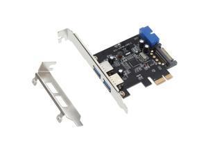 SuperSpeed 2-Port USB 3.0 PCI-E PCI Express 19-pin USB3.0 15-pin SATA Connector Low Profile
