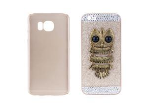 Fashion PC Phone Protect Case Gold Giltter Luxury Crystal with Special Metal Owl Pattern Design for iPhone 6 4.7""