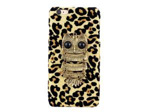 """Fashion PC Phone Protect Case Luxury Glitter Leopard Print with Special Metal Owl Pattern Design for iPhone 6 Plus 5.5"""""""
