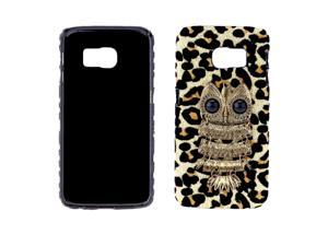 Fashion PC Phone Protect Case Luxury Glitter Leopard Print with Special Metal Owl Pattern Design for Galaxy S6