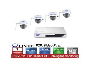 CCTV 4CH Wireless 720P Surveillance NVR System Kit with 4 Indoor Day/Night 1.0MP IP Cameras Video Push 3G Wifi P2P Onvif
