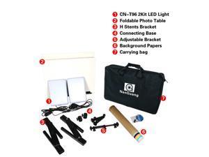 CN-T96 2 Kit LED Photo Light Lamp 220V with Mini Shooting Table & Background Paper Kit