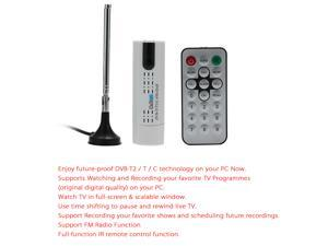 Digital DVBT2 USB TV Stick Tuner USB2.0 HDTV Receiver with Antenna Remote Control for DVB-T2 / DVB-C / FM / DAB