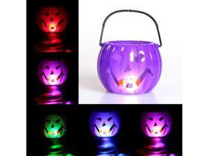 Jack-O-Lanterns 11cm Glowing RGB Led Pumpkin Lamp Halloween Decoration Children Dress Up Toy Prop