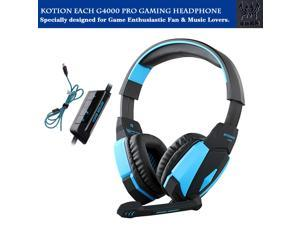 KOTION EACH G4000 Gaming Headphone USB Stereo Headset Noise Cancellation Music Earphone w/ Mic LED Light Volume Control Blue for Computer Desktop Notebook Laptop Games