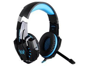 KOTION EACH G9000 3.5mm Gaming Headphone Game Headset Noise Cancellation Earphone w/ Mic LED Light Black-Blue for PS4 Laptop Tablet Mobile Phones