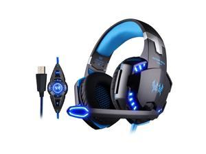KOTION EACH G2200 Gaming Headphone USB 7.1 Surround Sound Version & Vibration Gaming Headphone Noise Isolation Music Earphone w / Mic LED Light Black-blue for Computer Desktop Notebook Laptop