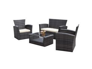 IKAYAA 4PCS Wicker Cushioned Outdoor Patio Living Furniture Set Garden Lawn Sofa Couch Set Rattan Design with TUV Testing Report