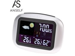 ANSELF Multi-functional Wireless Weather Forecast Clock Digital Colorful LCD Indoor Outdoor Thermometer Hygrometer Alarm Snooze Function Calendar Day Display