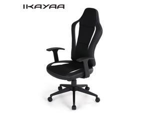 IKAYAA PU Leather Racing Style Executive Office Chair Adjustable Bucket Seat High Back Computer Task Desk Chair 360°Swivel W/ Tilt Lock