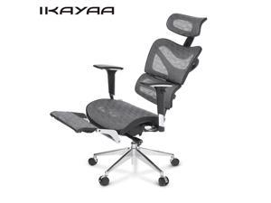 iKayaa Multi-function Adjustable Mesh Ergonomic Office Chair Swivel Tilt Executive Computer Gaming Chair W/ Footrest Headrest Lumbar Support Pass ANSI/BIFMA Standard