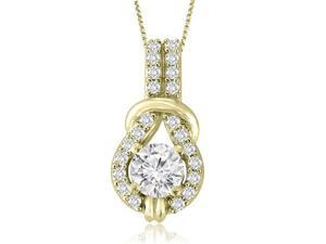 0.72 cttw. Love Knot Round Cut Diamond Pendant in 18K Yellow Gold (VS2, G-H)