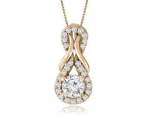 0.75 cttw. Halo Double Love Knot Round Cut Diamond Pendant in 14K Rose Gold