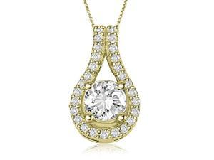 0.65 cttw. Round Cut Diamond Solitaire Tear Drop Halo Pendant in 14K Yellow Gold (VS2, G-H)