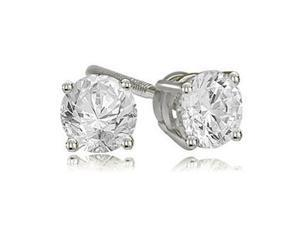 0.25 cttw. Round Cut Diamond 4-Prong Basket Stud Earrings in 14K White Gold (VS2, G-H)