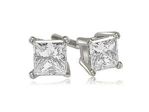 1.00 cttw. Princess Cut Diamond 4-Prong Basket Stud Earrings in 14K White Gold (SI2, H-I)