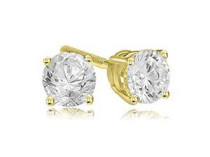 0.25 cttw. Round Cut Diamond 4-Prong Basket Stud Earrings in 18K Yellow Gold (VS2, G-H)