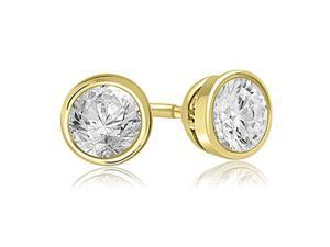 0.25 cttw. Round Cut Diamond Bezel Stud Earrings in 18K Yellow Gold (VS2, G-H)