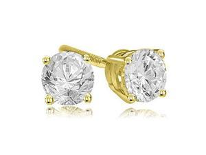 0.25 cttw. Round Cut Diamond 4-Prong Basket Stud Earrings in 14K Yellow Gold (VS2, G-H)