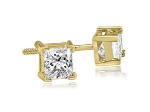 1.50 cttw. Princess Cut Diamond V-Prong Heavy Stud Earrings in 14K Yellow Gold (SI2, H-I)