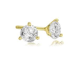 0.25 cttw. Round Cut Diamond Martini 3-Prong Stud Earrings in 18K Yellow Gold (VS2, G-H)