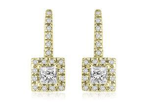 0.90 cttw. Round And Princess Diamond Fish-Hook Earrings in 14K Yellow Gold (SI2, H-I)
