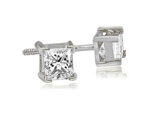 0.25 cttw. Princess Cut Diamond V-Prong Heavy Stud Earrings in 18K White Gold