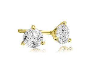 0.25 cttw. Round Cut Diamond Martini 3-Prong Stud Earrings in 14K Yellow Gold (VS2, G-H)