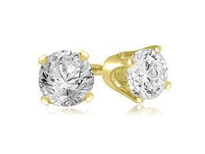 0.25 cttw. Round Cut Diamond 4-Prong Stud Earrings in 14K Yellow Gold (VS2, G-H)